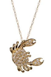 Candela 10K Yellow Gold Cz Crab Pendant Necklace Gray