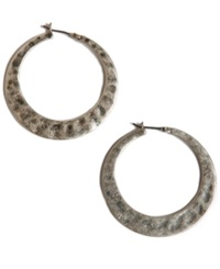 Lucky Brand Earrings Large Twisted Silver Tone Hoop