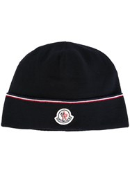 Moncler Contrasting Logo Beanie Blue