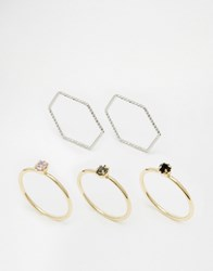 Monki Assorted Ring Pack Gold