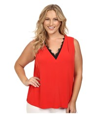 Calvin Klein Plus Size Sleeveless Top W Lace Trim Tango Red Women's Sleeveless