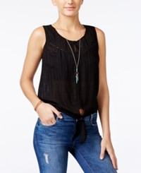 American Rag Embroidered Tie Front Blouse Only At Macy's Black