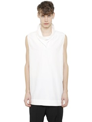 Rick Owens Sleeveless Cotton And Silk Poplin Shirt Off White