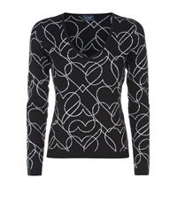 Armani Jeans Heart Intarsia Scoop Neck Sweater Female Navy