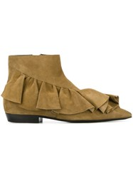 J.W.Anderson Ruffle Detail Boots Nude And Neutrals