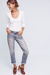 Anthropologie Pilcro Hyphen Bejeweled Mid Rise Jeans Light Denim