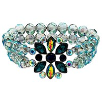 Monet Ab Bead And Glass Crystal Stretch Bracelet Multi