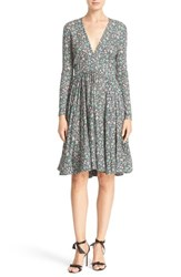 Rebecca Taylor Women's 'Lavish Garden' Long Sleeve V Neck Fit And Flare Dress