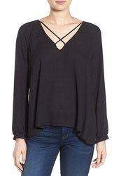 Lush Women's Strappy Long Sleeve Woven Blouse