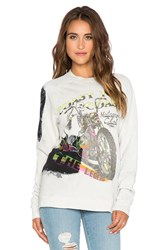 Lauren Moshi Prim The Legend Oversized Vintage Sweatshirt Tan