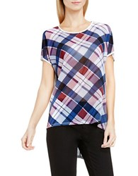 Vince Camuto Short Sleeve Plaid Fable Mixed Media Tee Grey