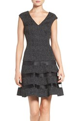 Aidan Mattox Women's By Metallic Knit Fit And Flare Dress