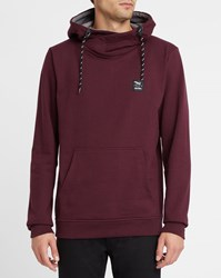 Iriedaily Dark Burgundy Layer Effect Shawl Collar Hoody