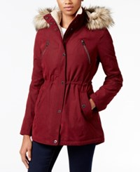 Nautica Faux Fur Trim Hooded Parka Burgundy