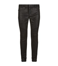 Balmain Skinny Waxed Biker Jeans Male Black