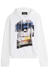 Dsquared2 Printed Cotton Hoody White
