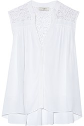 Sandro Caline Lace Paneled Crepe Top White