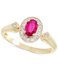 Rare Featuring Gemfield's Rare Featuring Gemfields Certified Ruby 1 2 Ct. T.W. And Diamond Accent Ring In 14K Gold