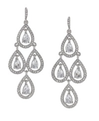 Carolee Earrings Glass Stone Teardrop Chandelier