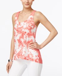Calvin Klein Jeans Printed Sleeveless Swing Top Sunkist Coral