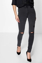 Boohoo High Waisted Tube Jeans With Rips Charcoal