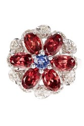 Savvy Cie Tanzanite Garnet And White Diamond Flower Cocktail Ring Red