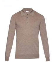 Richard James Long Sleeved Fine Knit Cashmere Polo Shirt