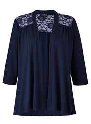 Grace Made In Britain Lace Trim Cardigan Navy
