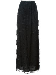 Blumarine Rose Embroidered Maxi Skirt Black