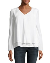 Cirana Double Layered Bell Sleeve Top White