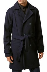 Men's Topman Wool Blend Trench Coat