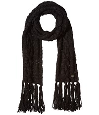 Cole Haan Chunky Cable Muffler With Fringe Black Scarves