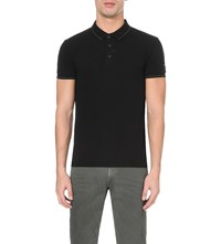 Replay Striped Trim Stretch Pique Polo Shirt Black