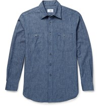 Dunhill Slim Fit Cotton Chambray Shirt Blue