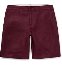 Club Monaco Maddox Linen Shorts Burgundy