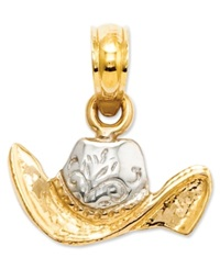 Macy's 14K Gold And Sterling Silver Charm Cowboy Hat Charm