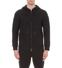 Helmut Lang Lace Up Sleeves Cotton Blend Hoody Black