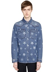 Valentino Stars Cotton Denim Western Shirt