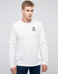 Franklin And Marshall Crest Logo Long Sleeve T Shirt Old White