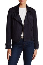 Bnci By Blanc Noir Faux Suede Moto Jacket Blue