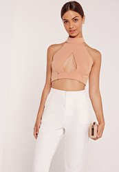 Missguided Buckle Waist Wrap Crop Top Nude Beige