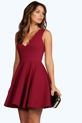 Boohoo Scallop Plunge Skater Dress Raspberry