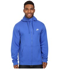 Nike Club Fleece Full Zip Hoodie Game Royal Game Royal White Men's Fleece Blue