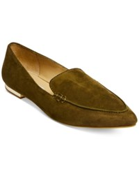 Steve Madden Women's Fausto Pointed Toe Loafers Women's Shoes Olive Suede