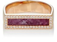 Monique Pean Women's Ruby Slice And White Diamond Bar Ring Colorless
