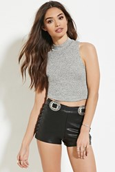 Forever 21 Marled High Neck Crop Top Grey