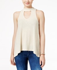 Almost Famous Juniors' Printed High Low Tank Top Cream