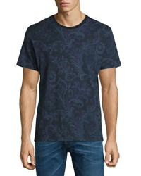 Etro Paisley Print Short Sleeve Crewneck T Shirt Navy Multi