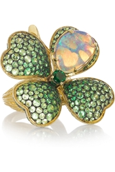 Lydia Courteille Four Leaf Clover 18 Karat Gold Opal And Tsavorite Ring