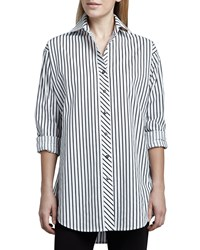 Go Silk Striped Big Shirt White Black